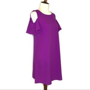 GIANNI BINI PURPLE COLD SHOULDER SHIFT DRESS XS